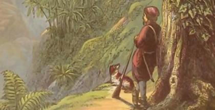 רובינזון קרוזו נשען על הרובה באי הבודד