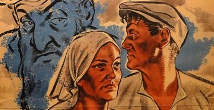 """גבר ואישה גרמנים נמלטים מקריקטורת יהודי. כרזה נאצית ובראשה הכיתוב """"יהודים, איננו שייכים לכם"""""""