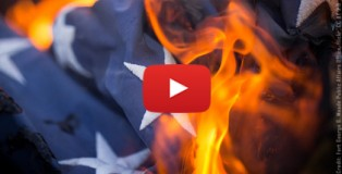 דגל ארצות הברית עולה באש