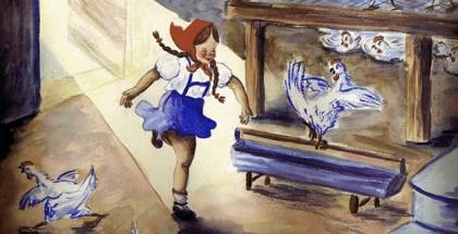 ילדה קטנה נכנסת ללול התרנגולות. איור מתוך ויהי ערב