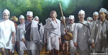ציור של גנדי מאשרם הזיכרון בסברמטי